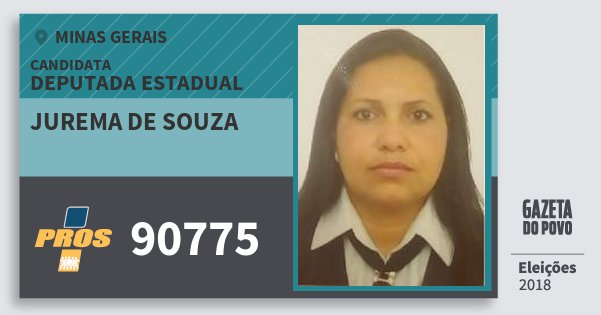 Santinho Jurema de Souza 90775 (PROS) Deputada Estadual | Minas Gerais | Eleições 2018