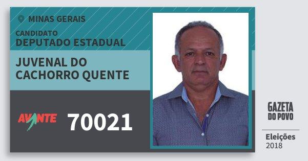 Santinho Juvenal do Cachorro Quente 70021 (AVANTE) Deputado Estadual | Minas Gerais | Eleições 2018