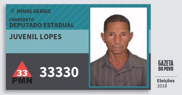 Santinho Juvenil Lopes 33330 (PMN) Deputado Estadual | Minas Gerais | Eleições 2018