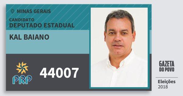 Santinho Kal Baiano 44007 (PRP) Deputado Estadual | Minas Gerais | Eleições 2018
