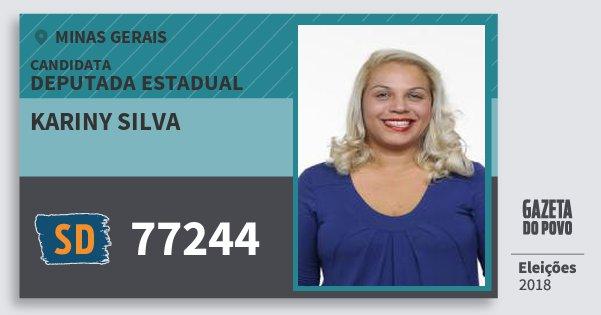Santinho Kariny Silva 77244 (SOLIDARIEDADE) Deputada Estadual | Minas Gerais | Eleições 2018