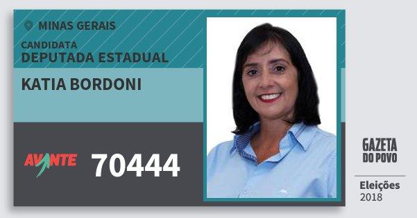 Santinho Katia Bordoni 70444 (AVANTE) Deputada Estadual | Minas Gerais | Eleições 2018