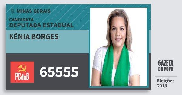 Santinho Kênia Borges 65555 (PC do B) Deputada Estadual | Minas Gerais | Eleições 2018