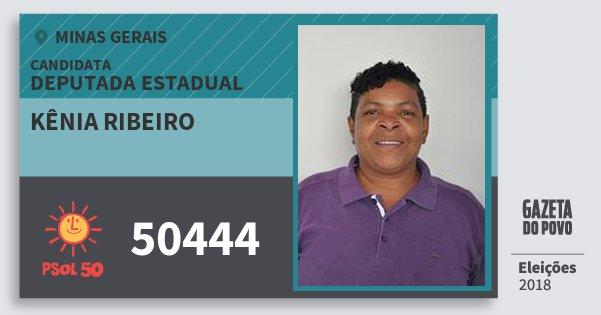 Santinho Kênia Ribeiro 50444 (PSOL) Deputada Estadual | Minas Gerais | Eleições 2018