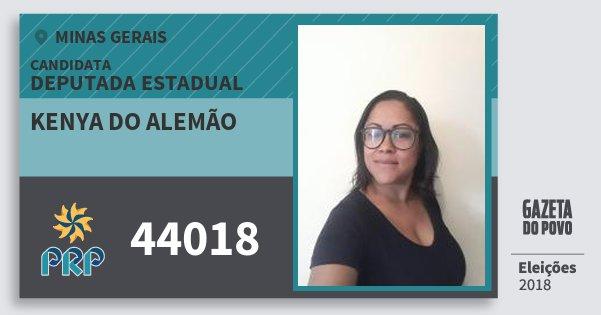 Santinho Kenya do Alemão 44018 (PRP) Deputada Estadual   Minas Gerais   Eleições 2018