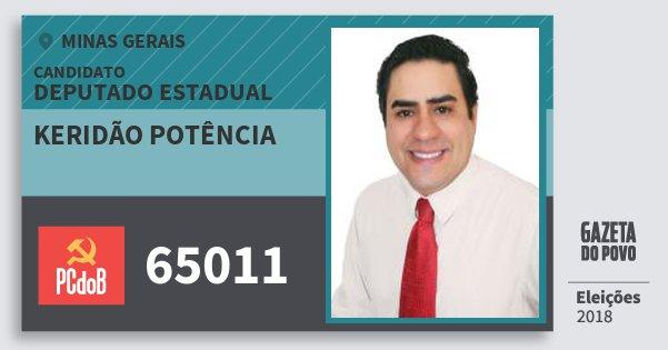 Santinho Keridão Potência 65011 (PC do B) Deputado Estadual | Minas Gerais | Eleições 2018