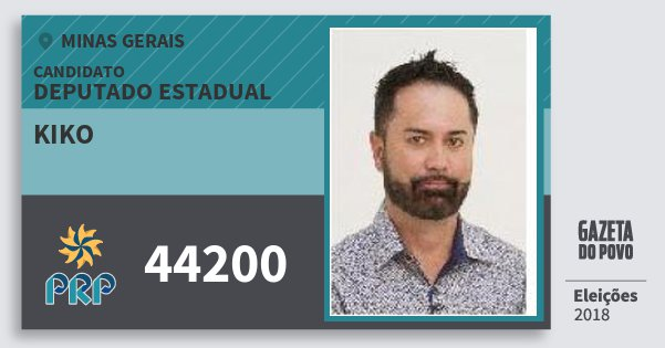 Santinho Kiko 44200 (PRP) Deputado Estadual | Minas Gerais | Eleições 2018
