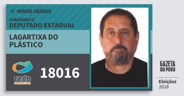 Santinho Lagartixa do Plástico 18016 (REDE) Deputado Estadual | Minas Gerais | Eleições 2018