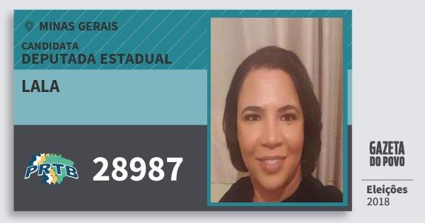 Santinho Lala 28987 (PRTB) Deputada Estadual | Minas Gerais | Eleições 2018