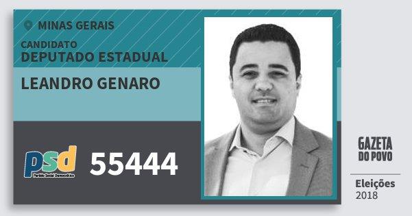 Santinho Leandro Genaro 55444 (PSD) Deputado Estadual | Minas Gerais | Eleições 2018