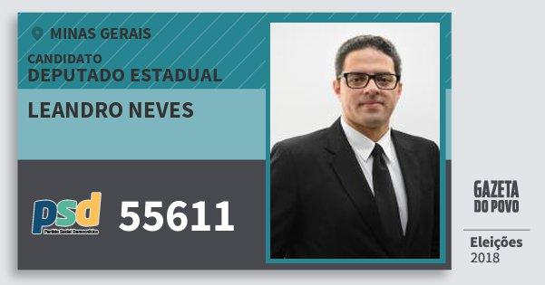 Santinho Leandro Neves 55611 (PSD) Deputado Estadual | Minas Gerais | Eleições 2018