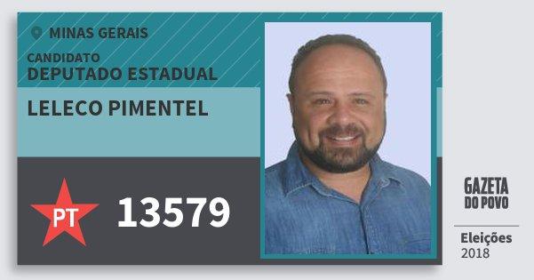 Santinho Leleco Pimentel 13579 (PT) Deputado Estadual | Minas Gerais | Eleições 2018