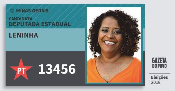 Santinho Leninha 13456 (PT) Deputada Estadual | Minas Gerais | Eleições 2018