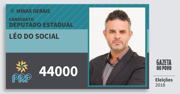 Santinho Léo do Social 44000 (PRP) Deputado Estadual | Minas Gerais | Eleições 2018