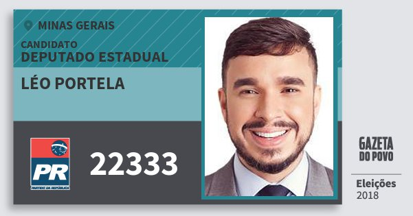 Santinho Léo Portela 22333 (PR) Deputado Estadual | Minas Gerais | Eleições 2018