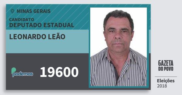 Santinho Leonardo Leão 19600 (PODE) Deputado Estadual | Minas Gerais | Eleições 2018