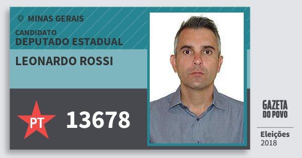 Santinho Leonardo Rossi 13678 (PT) Deputado Estadual   Minas Gerais   Eleições 2018