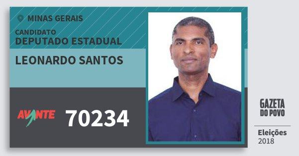 Santinho Leonardo Santos 70234 (AVANTE) Deputado Estadual | Minas Gerais | Eleições 2018