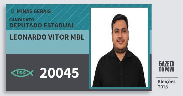 Santinho Leonardo Vitor Mbl 20045 (PSC) Deputado Estadual | Minas Gerais | Eleições 2018