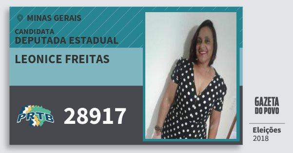 Santinho Leonice Freitas 28917 (PRTB) Deputada Estadual | Minas Gerais | Eleições 2018