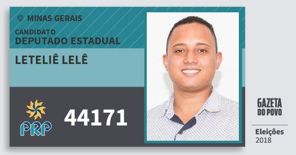 Santinho Leteliê Lelê 44171 (PRP) Deputado Estadual | Minas Gerais | Eleições 2018
