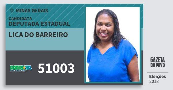 Santinho Lica do Barreiro 51003 (PATRI) Deputada Estadual | Minas Gerais | Eleições 2018