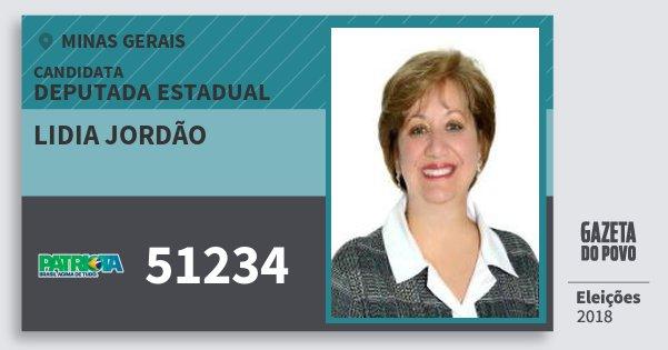 Santinho Lidia Jordão 51234 (PATRI) Deputada Estadual | Minas Gerais | Eleições 2018
