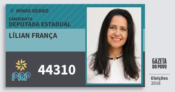 Santinho Lílian França 44310 (PRP) Deputada Estadual | Minas Gerais | Eleições 2018