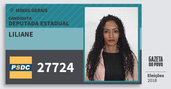 Santinho Liliane 27724 (DC) Deputada Estadual | Minas Gerais | Eleições 2018