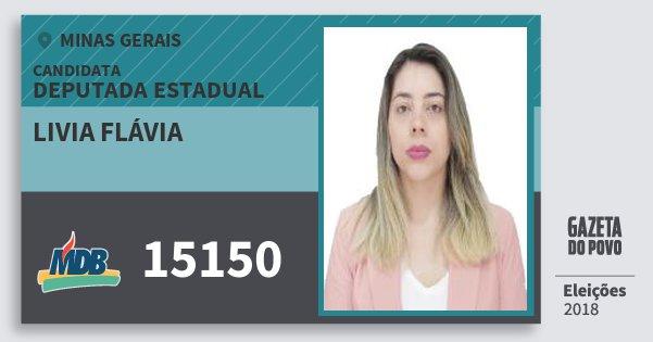 Santinho Livia Flávia 15150 (MDB) Deputada Estadual | Minas Gerais | Eleições 2018