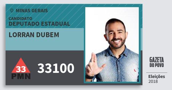 Santinho Lorran Dubem 33100 (PMN) Deputado Estadual | Minas Gerais | Eleições 2018