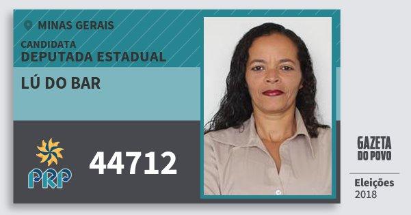 Santinho Lú do Bar 44712 (PRP) Deputada Estadual | Minas Gerais | Eleições 2018