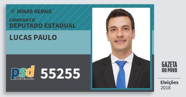 Santinho Lucas Paulo 55255 (PSD) Deputado Estadual | Minas Gerais | Eleições 2018