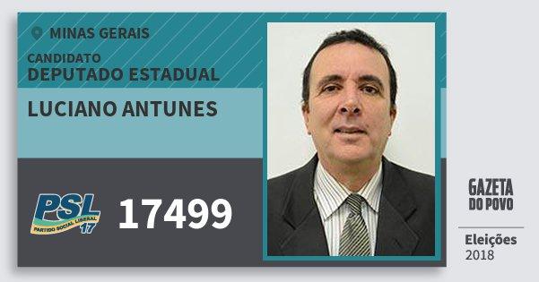 Santinho Luciano Antunes 17499 (PSL) Deputado Estadual | Minas Gerais | Eleições 2018