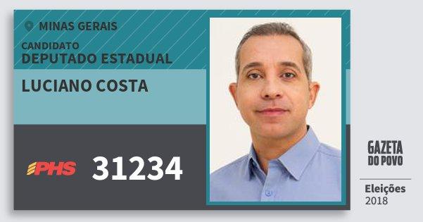 Santinho Luciano Costa 31234 (PHS) Deputado Estadual | Minas Gerais | Eleições 2018