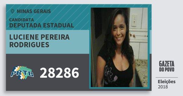 Santinho Luciene Pereira Rodrigues 28286 (PRTB) Deputada Estadual | Minas Gerais | Eleições 2018