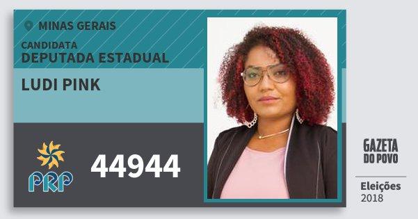 Santinho Ludi Pink 44944 (PRP) Deputada Estadual | Minas Gerais | Eleições 2018