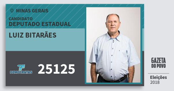 Santinho Luiz Bitarães 25125 (DEM) Deputado Estadual | Minas Gerais | Eleições 2018