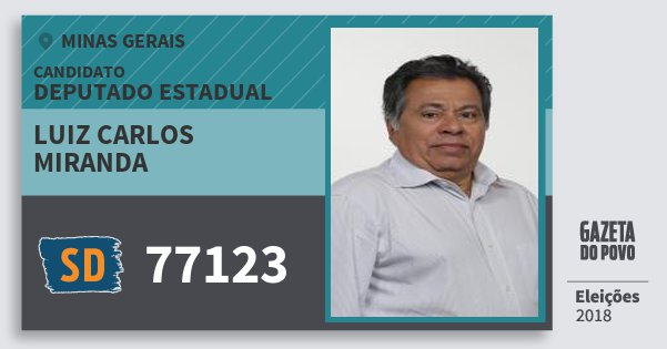 Santinho Luiz Carlos Miranda 77123 (SOLIDARIEDADE) Deputado Estadual | Minas Gerais | Eleições 2018