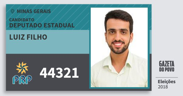 Santinho Luiz Filho 44321 (PRP) Deputado Estadual | Minas Gerais | Eleições 2018