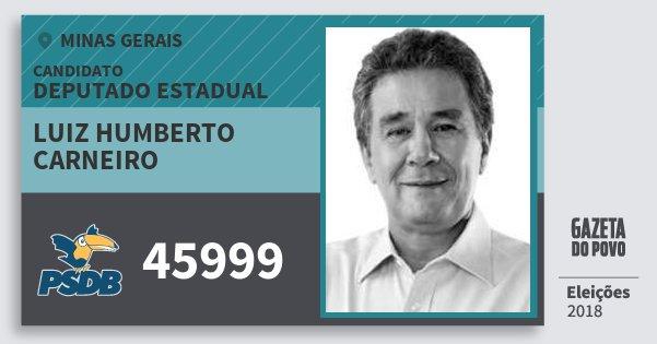 Santinho Luiz Humberto Carneiro 45999 (PSDB) Deputado Estadual | Minas Gerais | Eleições 2018