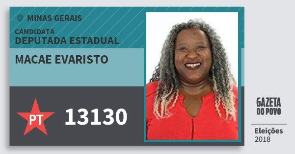 Santinho Macae Evaristo 13130 (PT) Deputada Estadual | Minas Gerais | Eleições 2018