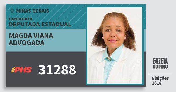 Santinho Magda Viana Advogada 31288 (PHS) Deputada Estadual | Minas Gerais | Eleições 2018