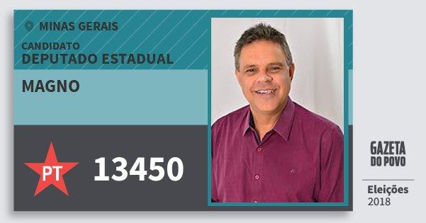 Santinho Magno 13450 (PT) Deputado Estadual | Minas Gerais | Eleições 2018