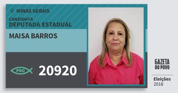 Santinho Maisa Barros 20920 (PSC) Deputada Estadual | Minas Gerais | Eleições 2018