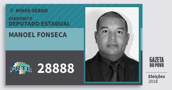Santinho Manoel Fonseca 28888 (PRTB) Deputado Estadual | Minas Gerais | Eleições 2018