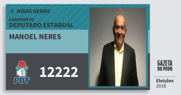 Santinho Manoel Neres 12222 (PDT) Deputado Estadual | Minas Gerais | Eleições 2018