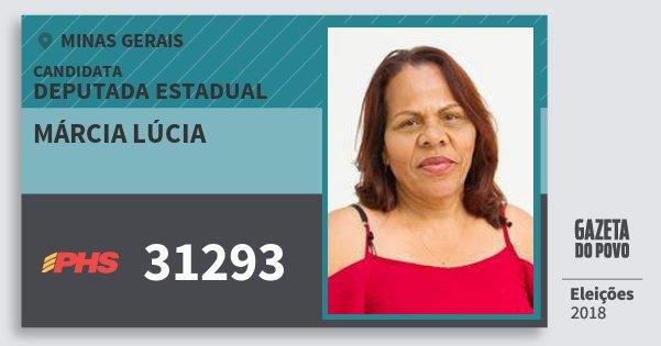 Santinho Márcia Lúcia 31293 (PHS) Deputada Estadual | Minas Gerais | Eleições 2018