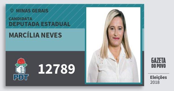 Santinho Marcília Neves 12789 (PDT) Deputada Estadual | Minas Gerais | Eleições 2018