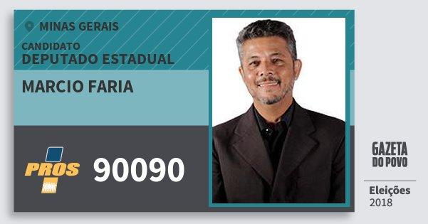 Santinho Marcio Faria 90090 (PROS) Deputado Estadual | Minas Gerais | Eleições 2018